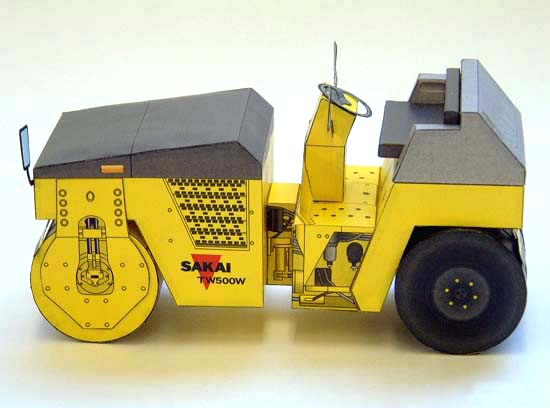 Papercraft de la Apisonadora / Steamroller TW500W-1. Manualidades a Raudales.