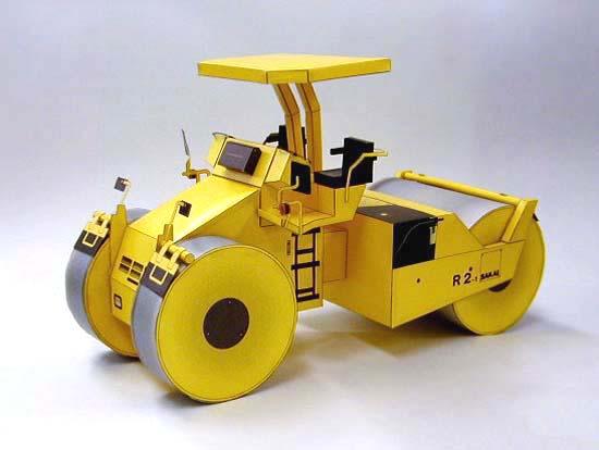 Papercraft imprimible y armable de la Apisonadora / Steamroller R2-1. Manualidades a Raudales.